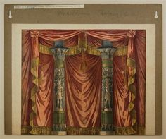 Vorhang ohne Verlagsnummer (mit ägyptischen Säulen) Antique Toy Theater Curtain backdrop with Egyptian columns published by Winckelmann & Sohne - from the Online Museum collection at http://skd-online-collection.skd.museum/de/contents/showArtist?id=439717