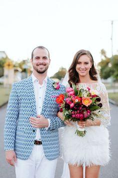 Super stylish bride and groom - modern surprise backyard wedding