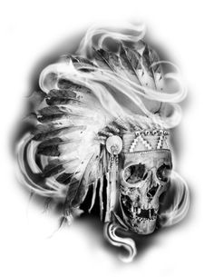 Skull native american headdress tattoo idea