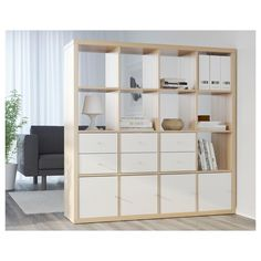 Staviti leđa tamo gde su knjige * * * KALLAX Shelving unit, white stained oak effect - white stained oak effect - IKEA Ikea Kallax Shelving, Ikea Kallax Hack, Ikea Storage, Cube Storage, Ikea Room Divider, Sliding Room Dividers, Room Divider Bookcase, Sliding Door, Ikea Regal