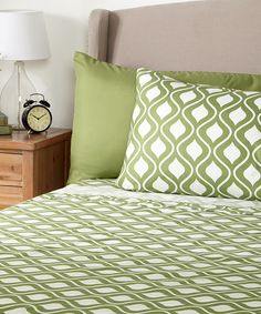 Look at this Green Geo Microfiber Sheet Set on #zulily today!