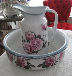 Antique Vintage Roses French Enamelware Bowl and Pitcher - Stunning