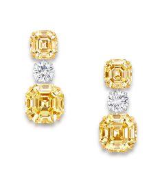 Graff Diamonds Yellow and White Diamond Earrings Diamond Drop Earrings, Emerald Earrings, Diamond Gemstone, Diamond Studs, Gemstone Earrings, Sapphire Diamond, Dangle Earrings, Gems Jewelry, High Jewelry