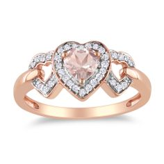 Miadora Rose Plated Silver Morganite and 1/8ct TDW Diamond Ring (H-I, I2-I3) | Overstock.com Shopping - Top Rated Miadora Gemstone Rings