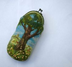 Felted Wool Glasses Case Eyesglass Case Flowers and Trees Embroider on Pouche Case for Glass