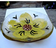 Fused Glass Flower Trinket Bowl by Chris1 on Etsy