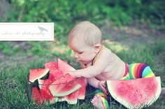 Awesome baby photo, 6 month baby picture idea, Valerie Ott Photography - watermelon baby!