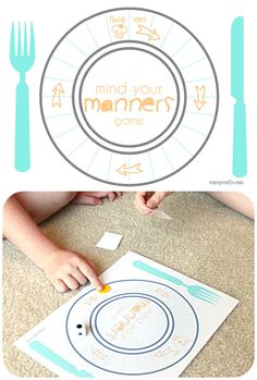 Free printable game to teach table manners to kids. #DineInOrderAhead #PMedia #ad