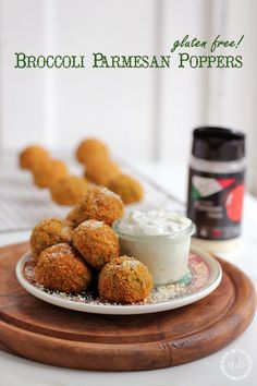 BAKED! gluten free broccoli parmesan poppers with Greek yogurt ranch dip