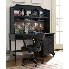 Smartstuff Black and White Desk and Hutch in Black