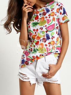 Shop Multicolor Crew Neck Fruits Print T-Shirt online. SheIn offers Multicolor Crew Neck Fruits Print T-Shirt & more to fit your fashionable needs.