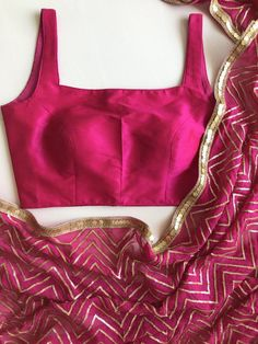 An eye catching hot pink Georgette sari with sequins embroidered in chevron pattern.  Sari comes with a complimentary underskirt.  Sari can be purchased with or without blouse. Sleeves can be added on request along with a modest back.