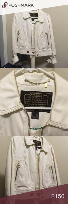 Coach Moto Jacket - White & Gold White and gold Coach Motorcycle Style Jacket // Excellent Used Condition // gold zippers, circular zipper pulls, and fasteners (just like on their purses) // see last photo for materials Coach Jackets & Coats Jean Jackets