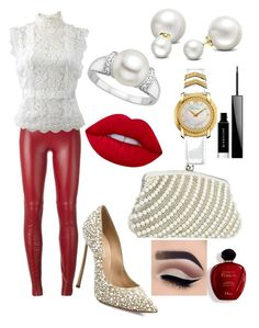 """""""Pearls ⚪️⚪️⚪️"""" by papagmariza ❤ liked on Polyvore featuring Plein Sud, Oscar de la Renta, Casadei, Allurez, Versace, Lime Crime, Givenchy and Satine"""