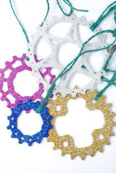 Set of 3 Glitter Bike Sprocket Christmas Tree by KatiesBike