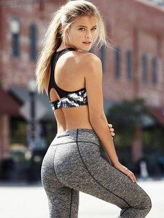 Dark floral sports bra + grey leggings
