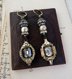 Vintage Assemblage Watch Earrings The by RusticGypsyCreations