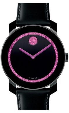 Movado Watch, Unisex Swiss Bold Black Leather Strap 3600179 - Supports the Breast Cancer Research Foundation® Beautiful Watches, Elegant Watches, Trendy Watches, Nice Watches, Modern Watches, Ladies Watches, Sport Watches, Vintage Watches, Breast Cancer Awareness