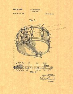 Snare Drum Patent Print This Patent for a Snare Drum was invented by Thompson Josephus B and filed on January 16, 1962. It was issued on December 10, 1963 by the United States Patent and Trademark…MoreMore  #PatentArtVintage