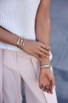 blush and white with gold jewelry