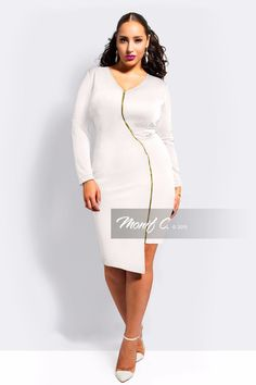 White hot body con for the bachelorette party! This dress is from plus size fashion retailer Monif C.