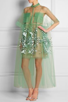 DELPOZO|Oversized embroidered tulle gown|NET-A-PORTER.COM