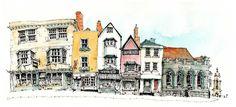 Sadler Street, Wells by Chris Lee Sketch Painting, Watercolor Sketch, Watercolor Paintings, Line Drawing, Drawing Sketches, Drawings, Building Illustration, Illustration Art, Chris Lee