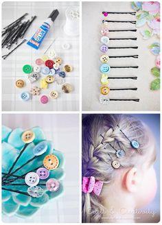 Super Easy DIY Button Hair Clips