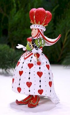 Patience Brewster Krinkles Queen of Hearts Cards Christmas Ornament 08-30891 New