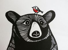 Bear and Robin, Original Linocut Print, Signed Limited Edition of 50, Free Postage in UK, Hand Pulled, Printmaking,