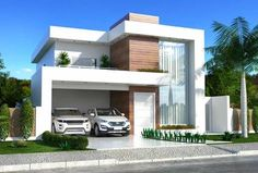 This two-storey house plan has a clean facade that mixes with the wood, glass, and white paint. The landscaping and the lighting is made simple Modern Exterior House Designs, Modern House Facades, Modern Architecture House, Modern House Design, Minimalist Architecture, Chinese Architecture, Futuristic Architecture, Architecture Design, Bungalow House Design