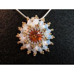 Crystal Necklace, amber crystal 12mm with peyote stitch and opal... ($41) ❤ liked on Polyvore featuring jewelry, necklaces, amber jewelry, crystal necklace, crystal jewellery, opal jewellery and chains jewelry