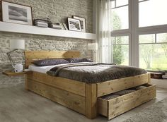 Doppelbett bett gestell mit schubladen kiefer massiv holz gelaugt geölt Double bed bed frame with drawers pine solid wood leached oiled Pine Furniture, Pallet Furniture, Wood Bedroom, Bedroom Furniture, Bed Frame With Drawers, Bed Drawers, Modern Platform Bed, Diy Bed Frame, Wood Beds