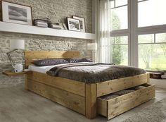 Bett mit Schubladen aus Massivholz. Kiefermöbel als Einzelbett Doppelbett teilweise auch ohne Schubladen erhältlich. Massives Holzbett auch in Übergröße erhältlich