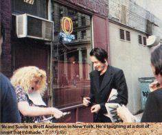 ohitsthe90s:  Brett Anderson & fan in NYC, Q Magazine, 1993.