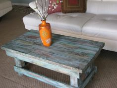 FREE SHIPPING--Rustic Distressed Coffee Table with Turquoise Color Pop Distressed Finish