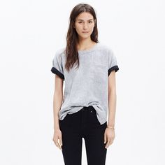A clean modern tee in a special double-faced cotton with a subtle stripe.  <ul><li>Slightly oversized fit.</li><li>Cotton.</li><li>Machine wash.</li><li>Import.</li></ul>