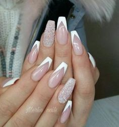 nails french tip ~ nails french tip . nails french tip color . nails french tip with design . nails french tip glitter . nails french tip ombre . nails french tip acrylic . nails french tip coffin . nails french tip short White Tip Acrylic Nails, White Nails, Pink Nails, Gel Nails, Coffin Nails, White French Nails, Long French Tip Nails, Summer French Nails, French Tip Acrylics