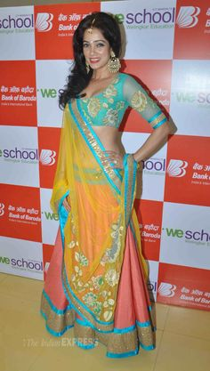 Vidya Malvade was gorgeous in a blue choli top with an orange lehenga skirt and a yellow net dupatta at the WE WISH YOU PEACE Fashion Show. #Bollywood #Fashion #Style #Beauty