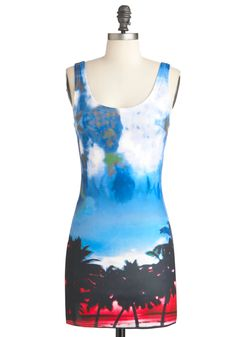 Florida through Photographs Dress - Short, Blue, Multi, Red, Yellow, Black, White, Novelty Print, Party, Tank top (2 thick straps), Summer, Bodycon / Bandage