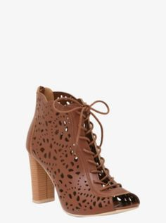 Floral Perforated Lace-Up Booties (Wide Width). I want them!
