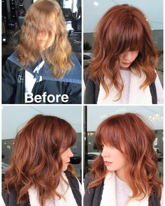 Curtain bangs and trim. Formula is @schwarzkopfusa vibrance 6-7 copper. Apply zone 1&2 leave off zone 3(ends). Process just 15 minutes. She is a natural level 6.""
