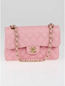 Chanel Pink Quilted Caviar Leather Small Classic Double Flap Bag
