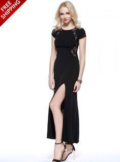 Black Short Sleeve Maxi Dress With Slit  www.ustrendy.com #UsTrendy