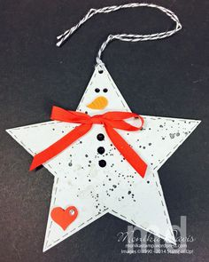 Star Snowman Tags for the holidays - made with all normal supplies you probably have in your stash in the craft room!  Stampin' Up!, Star Framelits, Big Shot, Snowman, Star, Tag, Gorgeous Grunge  #Stampinup