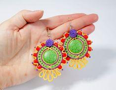 SALE Fancy Colorful Soutache Earrings, Multicolor Soutache Earrings, Dangle Earrings, Green, Yellow, Purple, Red, Colorful Bohemian Earrings