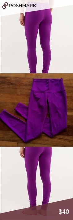 Lululemon tender violet wunder under hi rise pant Bought these on eBay but they were too small for me. Size 6. Great condition. Bright color. Paid 64 for them. lululemon athletica Pants Leggings