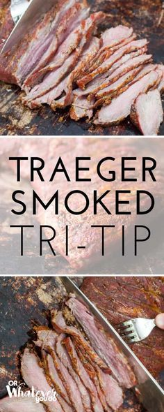 Traeger Smoked Tri-Tip Traeger Recipes, Smoked Meat Recipes, Barbecue Recipes, Grilling Recipes, Beef Recipes, Grilling Tips, Tri Tip Smoker Recipes, Sausage Recipes, Chicken