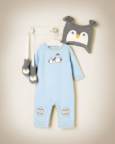 Penguin Sweater One-Piece with matching Sweater Crib Bootie and Earflap Hat.