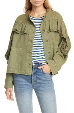 Floral-eyelet ruffles provide a girly counterpoint to the rugged styling of this loose-fitting army jacket. The Eyelet Army Jacket. Style Number: Available in stores. The Great Clothing, Scarf Dress, Striped Bikini, Jackets Online, Crew Neck Sweatshirt, Military Jacket, Nordstrom, Army